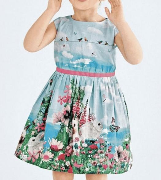 Image of bunny birdie print pleated toddler dress
