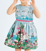 Image of bunny birdie print pleated toddler dress