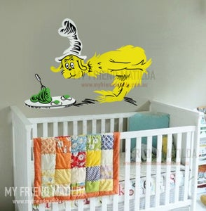 Image of Sam I am Creature Dr Seuss character nursery green eggs and ham wall decal stick