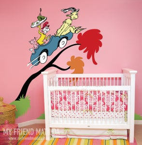 Image of Dr Seuss Green Eggs and Ham Sam in a car wall decal wall sticker wallpaper