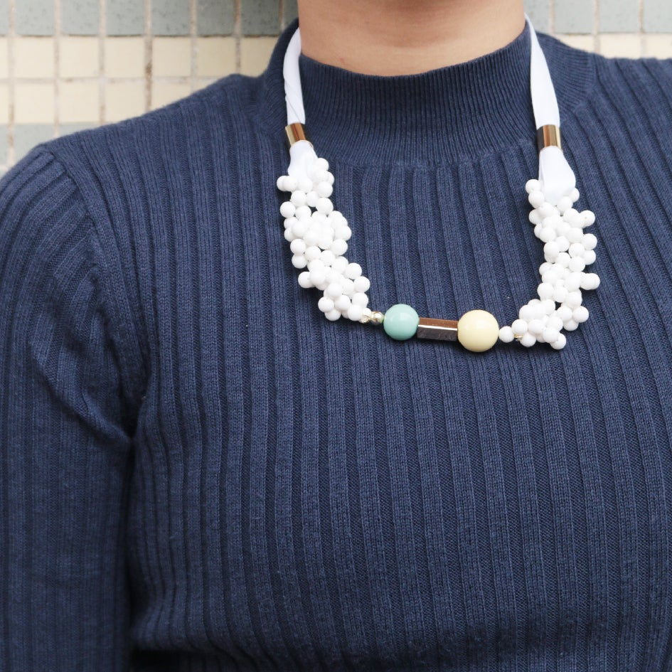Image of White blowing up pendant bubble necklace
