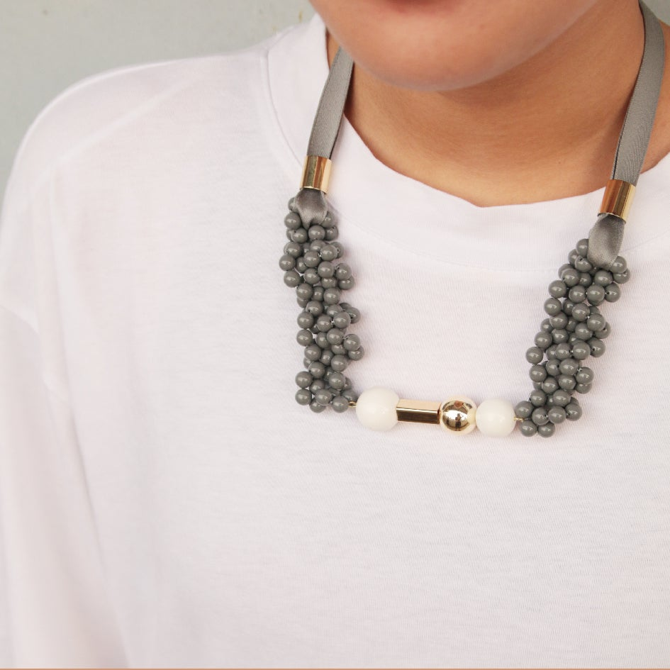 Image of Grey blowing up pendent necklace