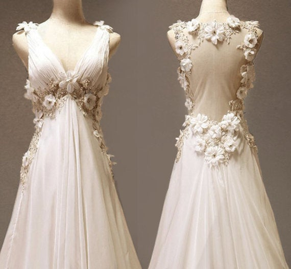 Beautiful V-neckline Handmade Long Chiffon Evening Gowns, Prom Gowns, Party Gowns