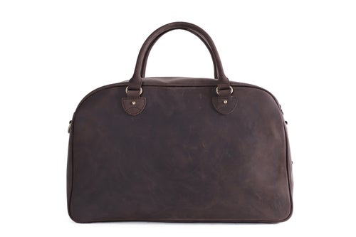Image of Vintage Top Grain Leather Travel Bag Duffle Bag Holdall 9064