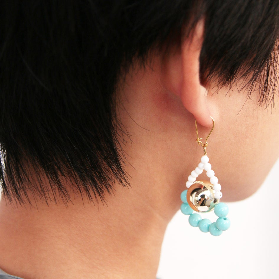Image of Gold ice blue loop a loop earrings