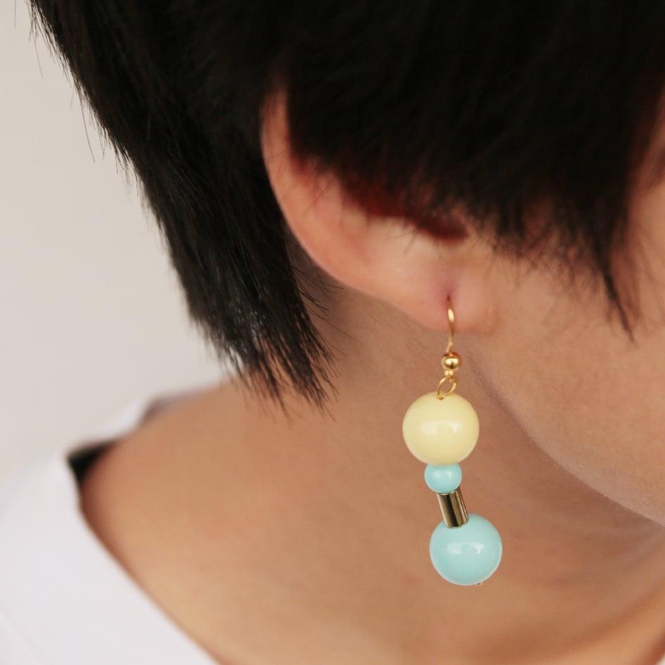 Image of Ice blue lemon bubble gum earrings