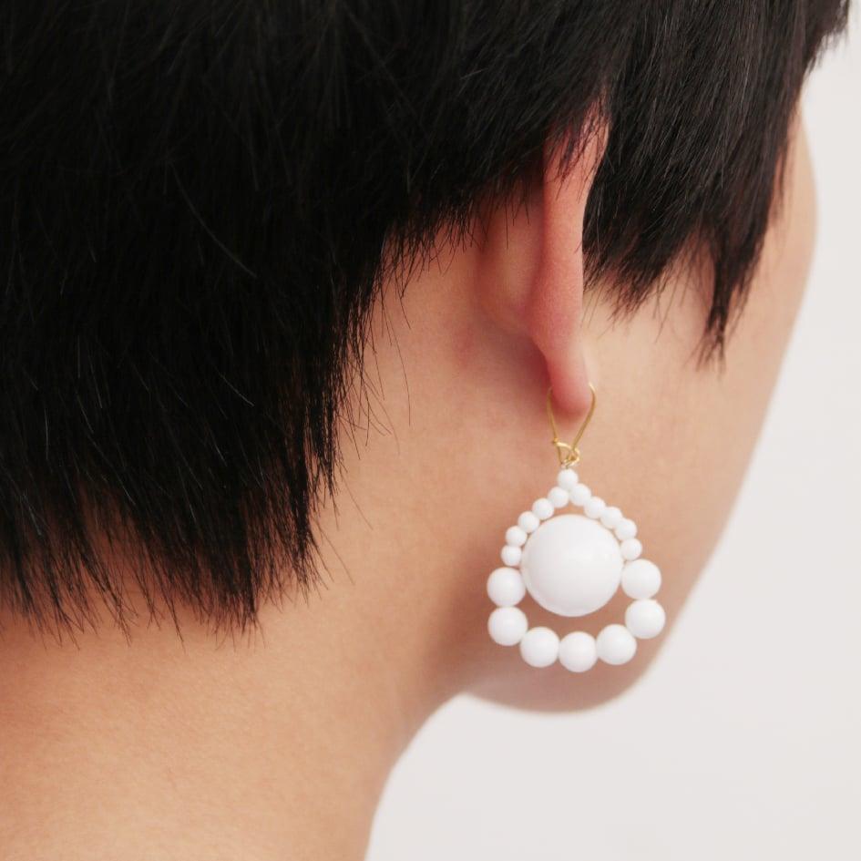 Image of White loop a loop earrings