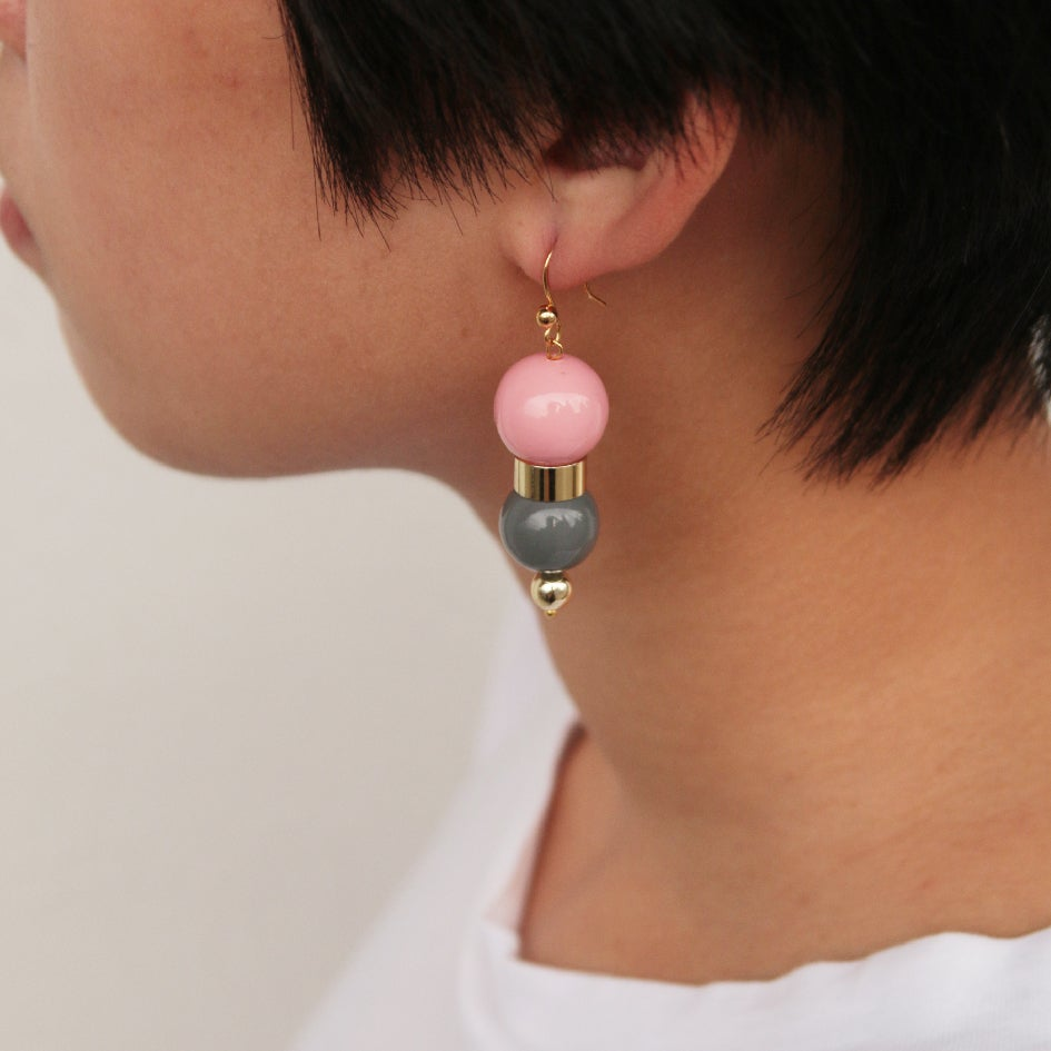 Image of Coral grey bubble gum earrings