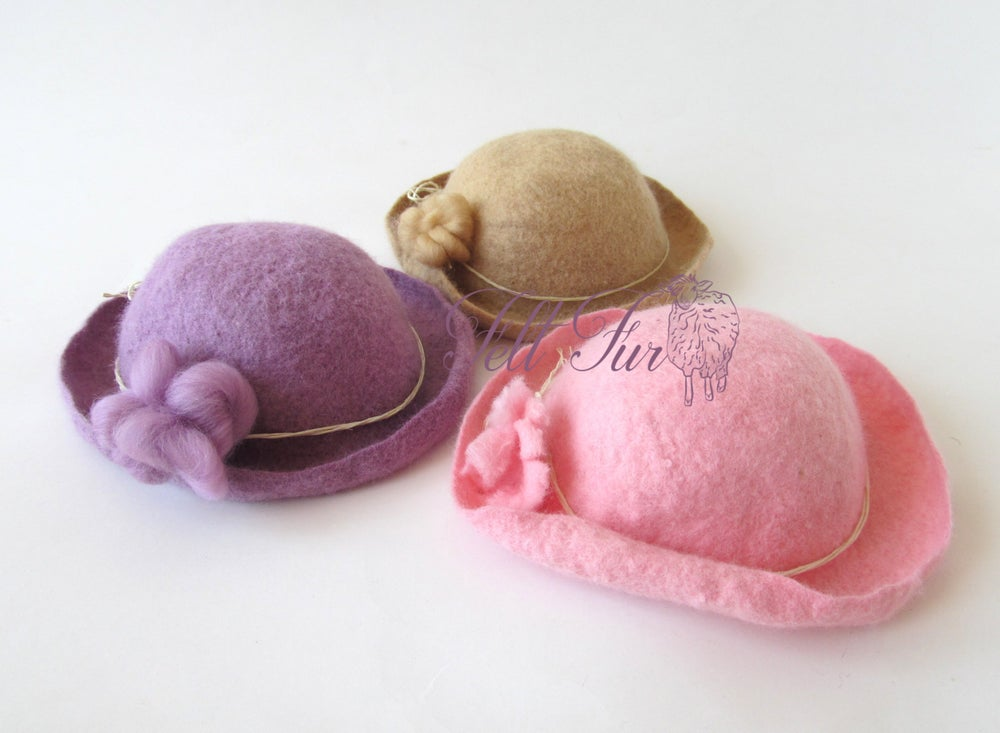 Image of Felted Newborn Hat Photoprops hat Baby Hat, Infant Hat Baby
