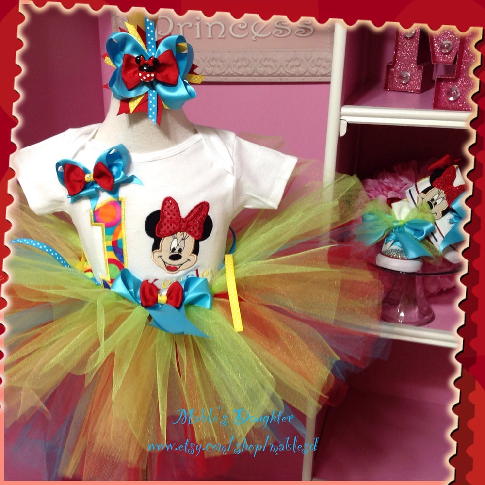 Image of Rainbow Minnie Tutu set