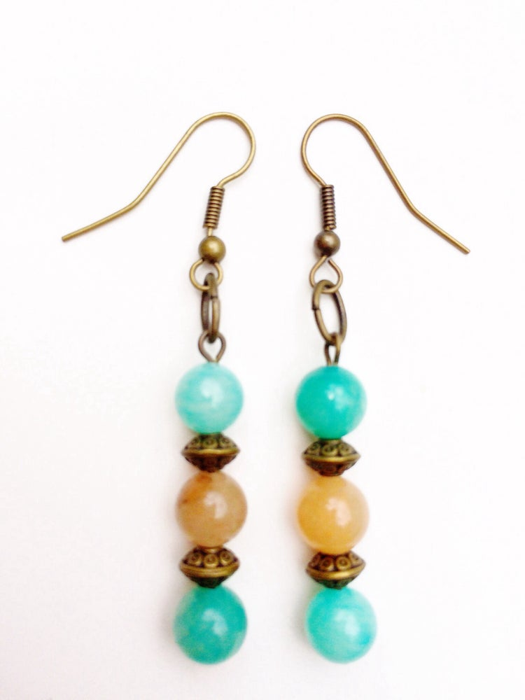 Image of Jade Copper Earrings