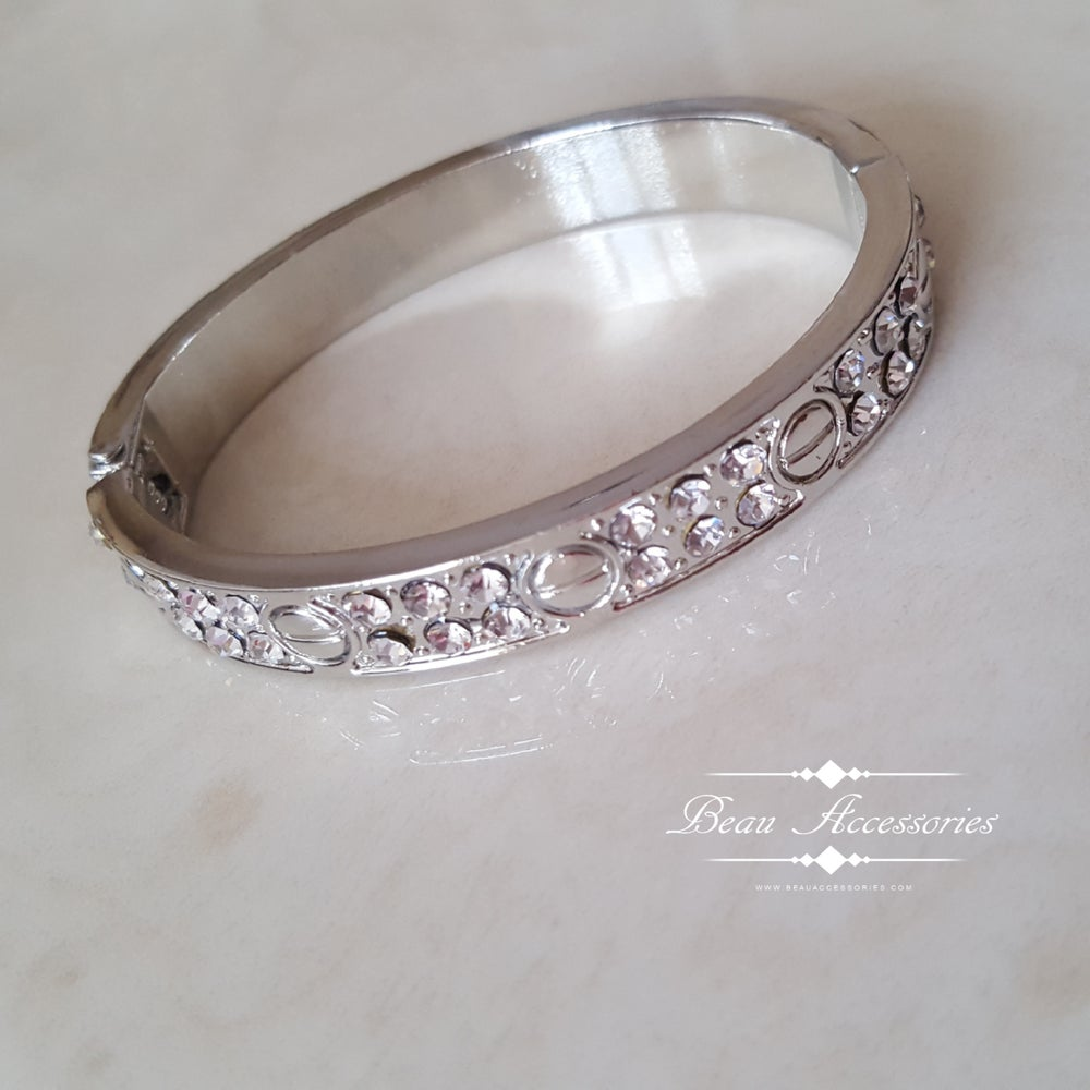 Image of Silver Crystal Encrusted Love Bangle