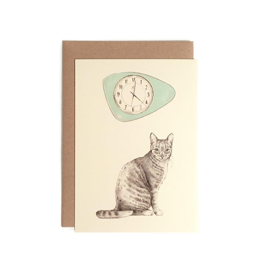 Image of Carte postale Chat-horloge + enveloppe