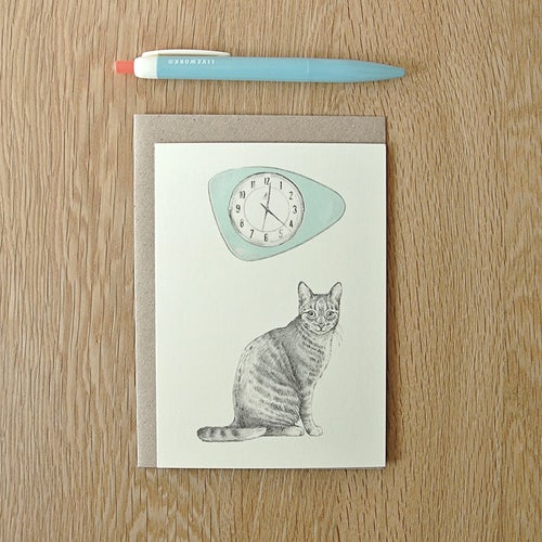 Image of Carte postale Chat-horloge + enveloppe