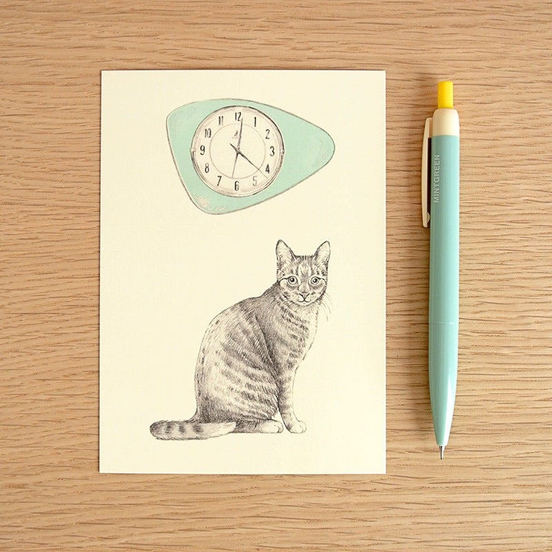Image of Carte postale simple Chat-horloge