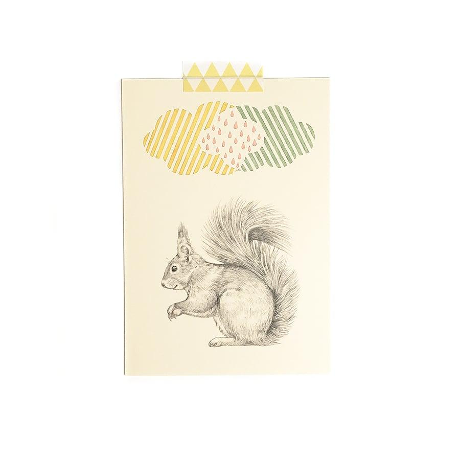 Image of Carte postale simple Ecureuil-nuage