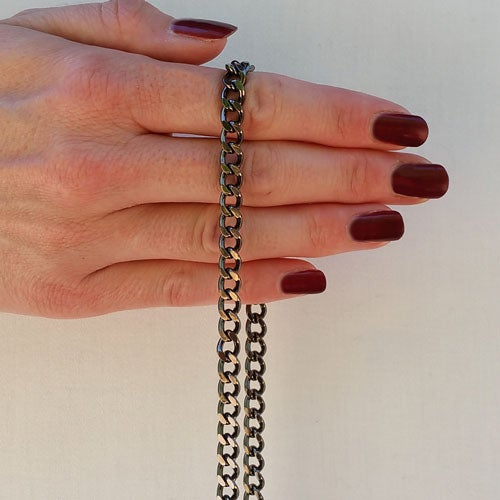 "Image of GUNMETAL Chain Bag Strap - Mini Classy Curb, Diamond Cut Accents - 1/4"" Wide - Choose Length & Hooks"
