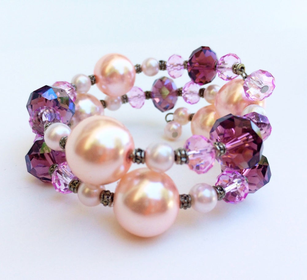Image of Crystal and Pearl Bauble Bracelet