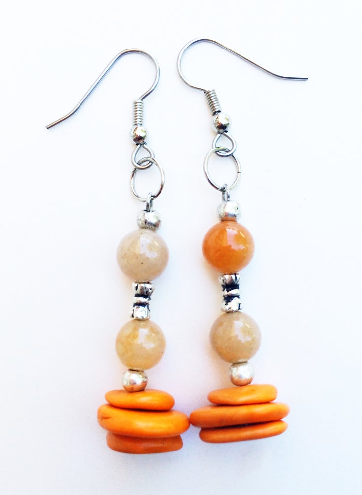 Image of Orange Jade and Coral Earrings