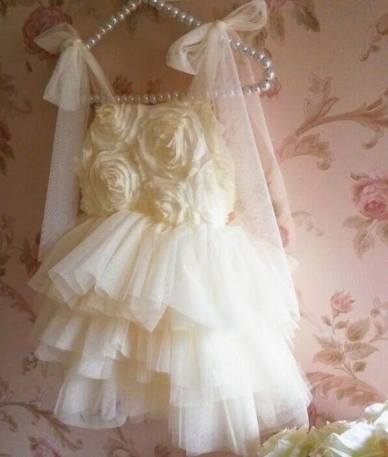 Image of Ivory Sparkle Rosette Tutu Dress, Flower Girl, Princess Dress, Vintage, Birthday, Photos, Baptism