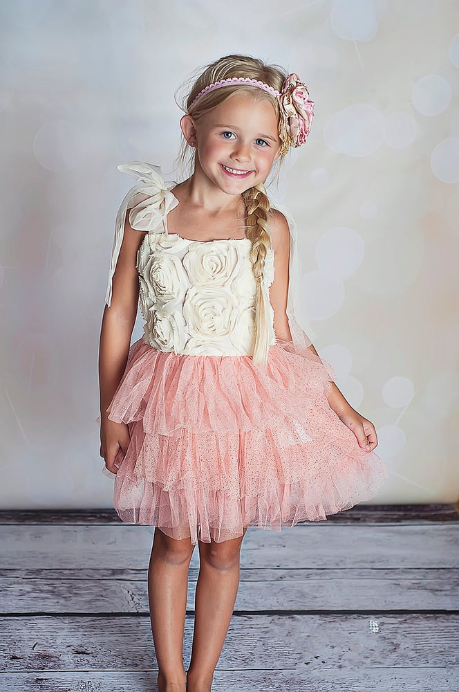 Image of White & Pink Sparkle Rosette Tutu Dress, Flower Girl, Princess Dress, Vintage, Birthday, Photo
