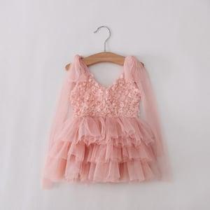 Image of Pink Petals: Rosette with Gold Accent Tutu Dress, Flower Girl, Princess Dress, Vintage, Pink & Gold