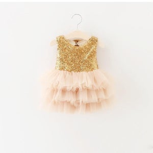 Image of Sparkle On Gold Sequin Bodice & Tulle Skirt Dress, Baby Bling, Pageant, Short Dress, Wedding