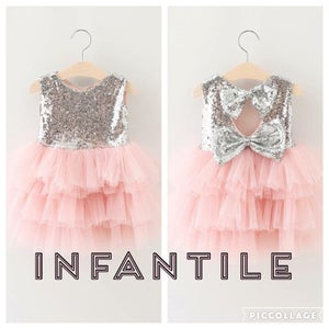 Image of Sparkle On Silver Sequin with Pink Tulle Dress, Baby Bling, Pageant, Short Dress, Wedding