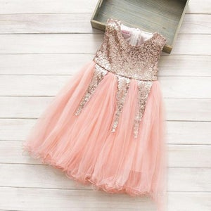 Image of Delilah Rose Gold Glitter Party Dress, Flower Girl, Sparkle Glitter Sequin Princess, Pink Peach