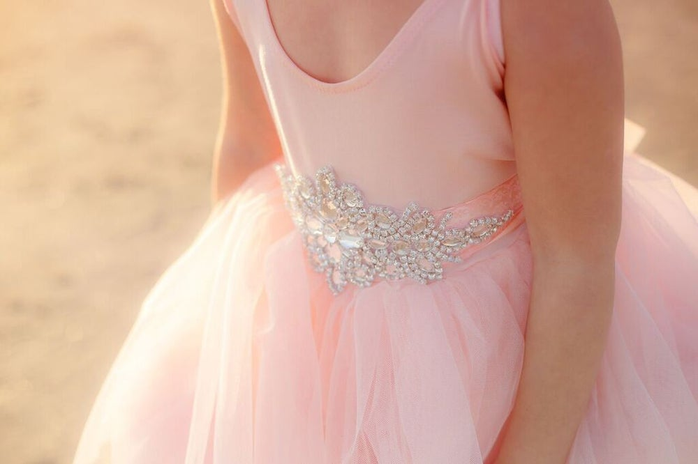 Image of Pink Couture Gown, Rhinestone Belt, Flower Girl, Baptism, Lace Flutter Sleeve, Holiday Dress