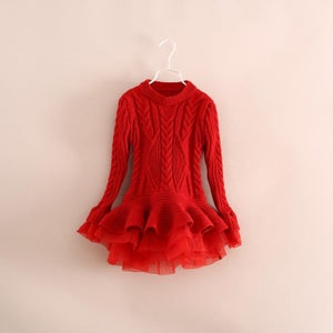 Image of Liv Sweater Dress Red, Toddler, Little Girl, Tulle Ruffles, Cable Knit, Holidays
