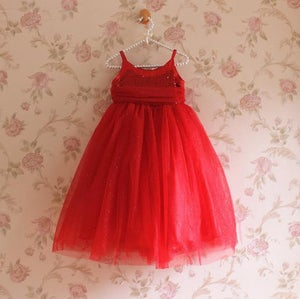 Image of Red Glitter Sequin Long Gown; Holiday Dress, Tulle Glitter Skirt; Valentine's Day Dress