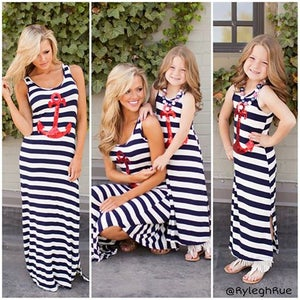 Image of Little Girl Sail Away Red Sequin Anchor Striped Maxi Dress, Made to Match Mommy dress, Mommy and Me
