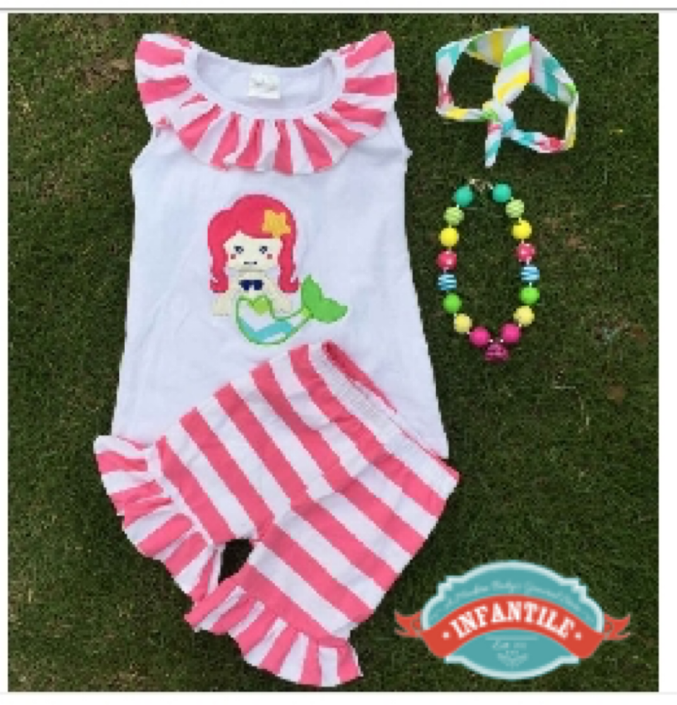 Image of Little Mermaid Ruffle Top & Matching Stripe Ruffle Shorts, Princess Outfit, Disney Trip