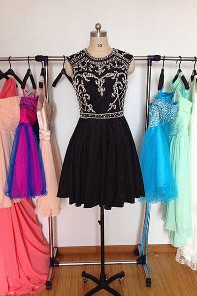 Beautiful Black Chiffon Beaded Short Homecoming Dresses, Black Homecoming Dresses, Party Dress