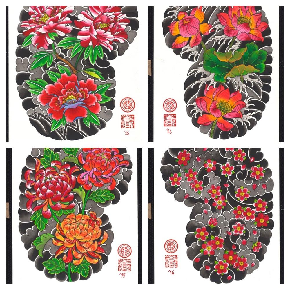 Image of Japanese Design Prints  Flowers 30x40 cm