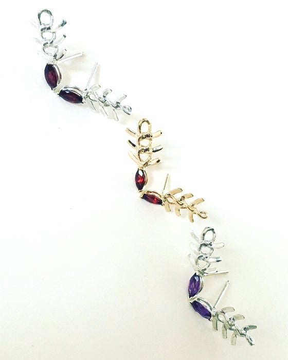 Image of Garnet Eye Gold Fish Earrings
