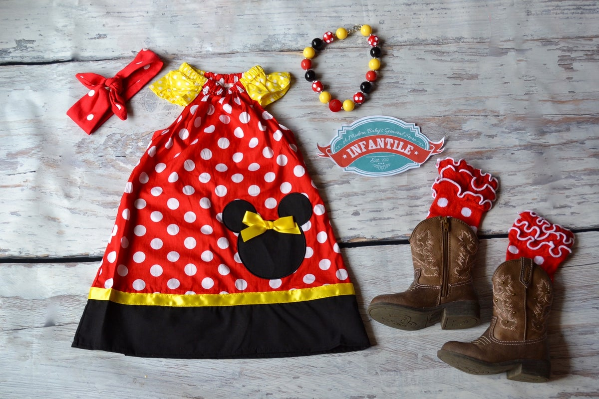Infantile Minnie Mouse Inspired Red Black Yellow Dress