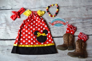 Image of Minnie Mouse Inspired Red Black Yellow Dress, Birthday Dress, Cake Smash, Photo Prop
