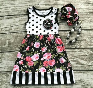 Image of Pretty White Black Pink Floral with Stripes & Polka Dots Tank Dress, Boho Baby & Toddler