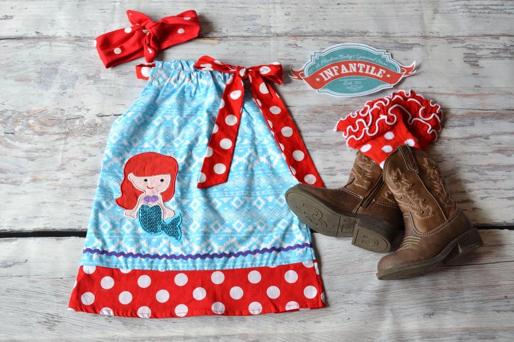 Image of Little Mermaid Pillowcase Short Dress, Red Polka Dot Trim, Princess, Summer, Disney Trip
