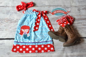 Image of Little Mermaid Pillowcase Short Dress, Red Polka Dot Trim, Princess, Summer, Disney Trip