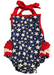 Image of Blue Star 4th of July Baby Girl Halter Romper with Ruffle Butt, Baby's First, Sister Set