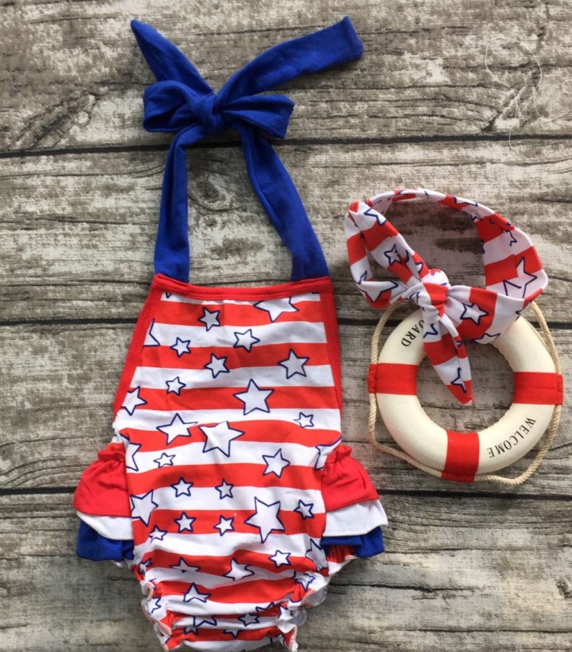 Image of Stars and Stripes 4th of July Baby Girl Halter Romper Ruffle Butt, Baby's First, Sister Set