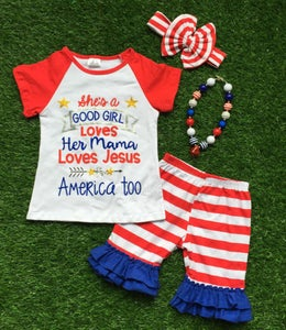 Image of She's a Good Girl Red Raglan Top & Ruffle Shorts, 4th of July, Red White Blue, Toddler Baby Girl