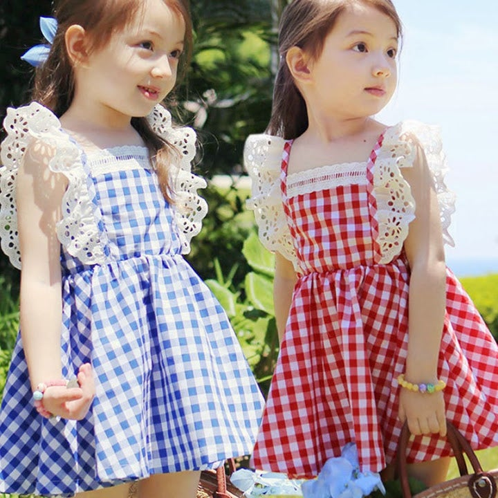 Image of Red White Checker Dress; Blue White Checker Dress, Bow Tie, Summer, Dorothy, Picnic Outfit