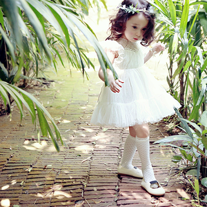 Image of Everly Vintage Lace Dress, WHITE Flower Girl Dress, Rustic Wedding, Photos