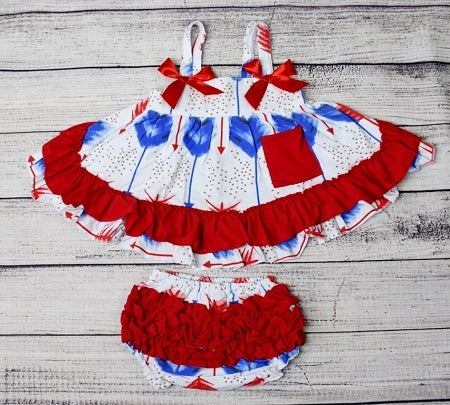 Image of Patriotic Boho Babe, Red White & Blue Baby Girl Swing Top Set, Ruffle Bloomers, 4th of July, Feather