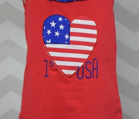 Image of I Heart USA, 4th of July, Red White Blue Girl, Baby's First, American Flag, Toddler Baby Girl