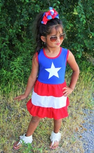 Image of 4th of July Star Red White and Blue Star Dress, Baby Toddler Girl Dress, Ready to Ship, Sister Set